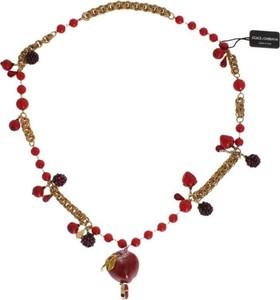 Dolce & Gabbana Złoto Red Apple Fruit Kryształowy Naszyjnik Charms