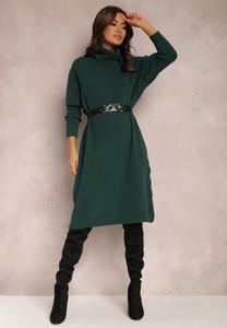Zielona sukienka Renee z dzianiny z golfem w stylu casual