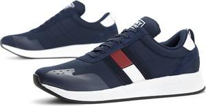 Niebieskie buty sportowe Tommy Hilfiger sznurowane z weluru