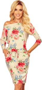 Sukienka Moda Dla Ciebie dla puszystych z długim rękawem