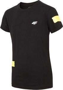 Czarna koszulka dziecięca 4F z bawełny z krótkim rękawem
