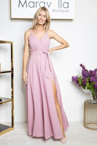 Różowa sukienka Maravilla Boutique maxi kopertowa z dekoltem w kształcie litery v