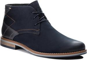 Granatowe buty zimowe Lasocki For Men sznurowane ze skóry w stylu casual