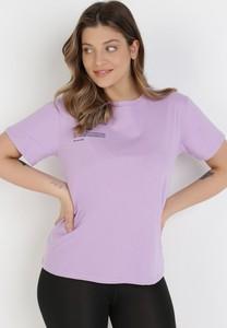 Fioletowa bluzka born2be z krótkim rękawem z okrągłym dekoltem