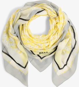 Żółty szalik Hugo Boss z nadrukiem