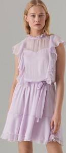 Fioletowa sukienka Mohito z szyfonu bez rękawów z okrągłym dekoltem