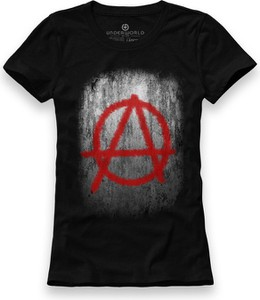Czarny t-shirt Underworld z bawełny z krótkim rękawem z nadrukiem