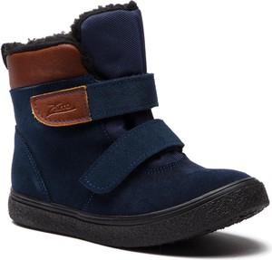 Niebieskie buty zimowe Zarro na rzepy z zamszu