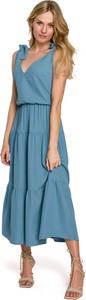 Sukienka Makover z dekoltem w kształcie litery v z tkaniny