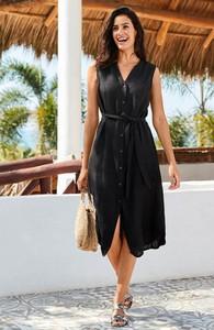 Czarna sukienka Cellbes bez rękawów midi z lnu