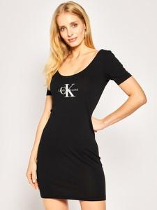 Sukienka Calvin Klein z krótkim rękawem dopasowana