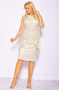 Sukienka Sukienki M&M z okrągłym dekoltem wyszczuplająca z krótkim rękawem