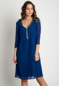 Sukienka Bialcon z tkaniny z dekoltem w kształcie litery v z długim rękawem