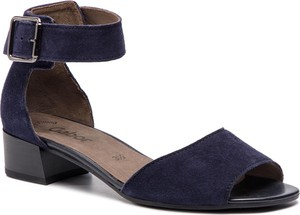 Niebieskie sandały Gabor z zamszu na niskim obcasie z klamrami