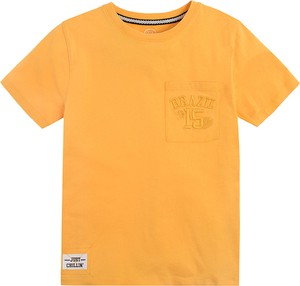 Żółta koszulka dziecięca Cool Club z bawełny z krótkim rękawem dla chłopców