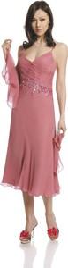 Różowa sukienka Fokus bez rękawów midi z dekoltem w kształcie litery v