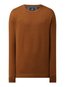 Brązowy sweter Lerros z okrągłym dekoltem z bawełny w stylu casual