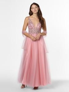 Różowa sukienka Mascara z dekoltem w kształcie litery v rozkloszowana maxi