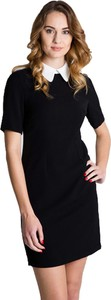 Czarna sukienka Bialcon w stylu casual z kołnierzykiem z krótkim rękawem