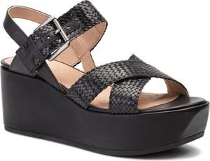 Czarne sandały Geox ze skóry ekologicznej w stylu casual