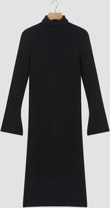 Czarna sukienka Rodier z golfem z długim rękawem z wełny