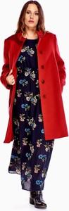 Czerwona kurtka TAGLESS z kaszmiru w stylu casual długa