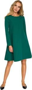 Zielona sukienka Style z szyfonu z okrągłym dekoltem z długim rękawem