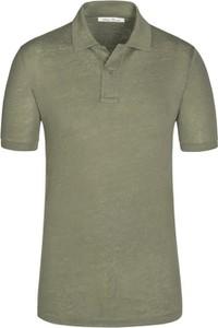 Zielona koszulka polo Stefan Brandt z lnu z krótkim rękawem