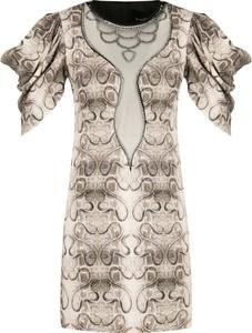 Brązowa sukienka John Richmond z okrągłym dekoltem prosta z krótkim rękawem