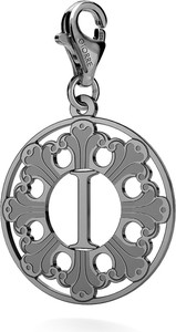 GIORRE SREBRNY CHARMS ROZETA Z LITERĄ 925 : Kolor pokrycia srebra - Pokrycie Czarnym Rodem, Litera - I