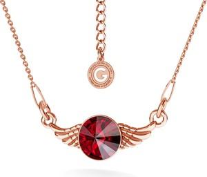 GIORRE SREBRNY NASZYJNIK SKRZYDŁA SWAROVSKI RIVOLI 925 : Kolor kryształu SWAROVSKI - Siam, Kolor pokrycia srebra - Pokrycie Różowym 18K Złotem