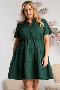 Zielona sukienka KARKO z krótkim rękawem z dekoltem w kształcie litery v