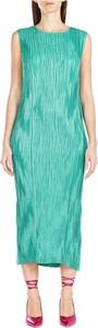 Zielona sukienka Alysi bez rękawów maxi z okrągłym dekoltem