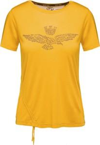 Żółty t-shirt Aeronautica Militare z krótkim rękawem