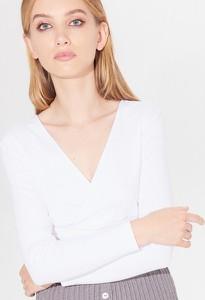 Bluzka Mohito z długim rękawem z dekoltem w kształcie litery v w stylu klasycznym