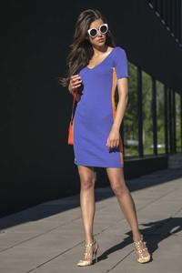 Niebieska sukienka Fobya z krótkim rękawem z lnu mini
