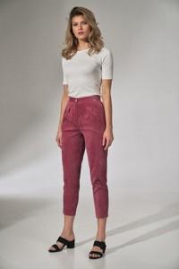 Różowe spodnie Figl ze sztruksu