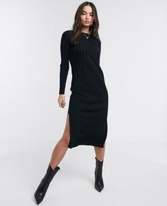 Czarna sukienka Asos Design z długim rękawem z okrągłym dekoltem