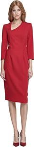 Czerwona sukienka Nife z dekoltem w kształcie litery v z długim rękawem midi