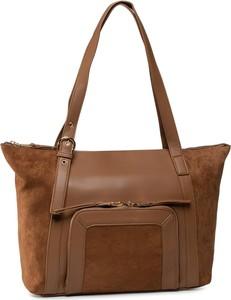 Brązowa torebka eobuwie.pl duża w stylu boho na ramię