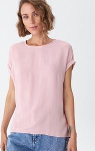 Różowa bluzka House w stylu casual z krótkim rękawem z okrągłym dekoltem