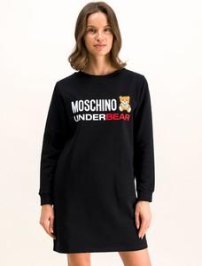 Czarna sukienka Moschino Underwear mini z długim rękawem w stylu casual