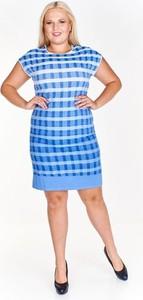 Sukienka Fokus ołówkowa z okrągłym dekoltem z krótkim rękawem