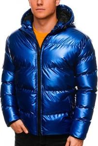 Niebieska kurtka Ombre krótka w stylu casual