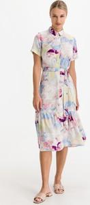 Sukienka Ichi midi z krótkim rękawem z okrągłym dekoltem
