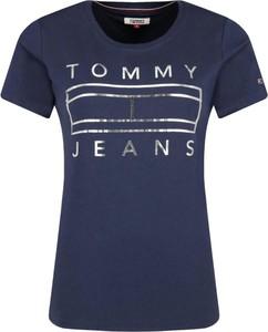 Niebieski t-shirt Tommy Jeans z krótkim rękawem w stylu casual