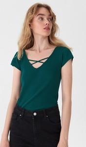 Zielony t-shirt House w stylu casual