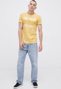 Żółty t-shirt Tom Tailor z krótkim rękawem z nadrukiem