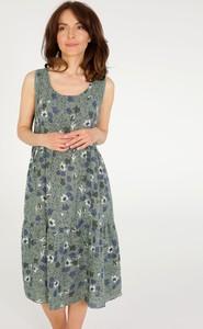 Zielona sukienka Unisono z okrągłym dekoltem z bawełny