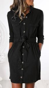 Czarna sukienka noshame mini koszulowa z kołnierzykiem